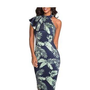 TATIANA Palm Leaf Print One Shoulder Dress
